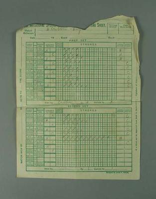 Scoresheet for a tennis game