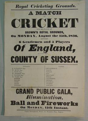 Cricket match: 6 Gentlemen & 5 Players Of England v County of Sussex, 15/8/1836