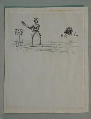 """Cartoon, """"Allegorical Cricket Match"""""""