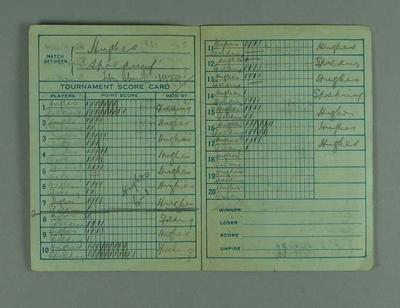 Scoresheet for a tennis game, 1929