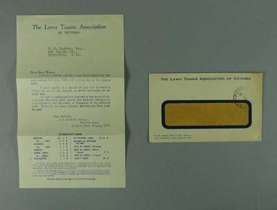 Lawn Tennis Association of Victoria subscription notice, 1935