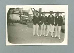 Small photograph of the Australian Tour de France team on board SS 'Otranto'