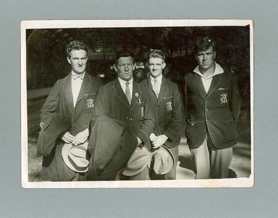 Photograph - Ernest Bainbridge, Henry Watson, Percy Osborne, Hubert Opperman at Paris rail station 1928.