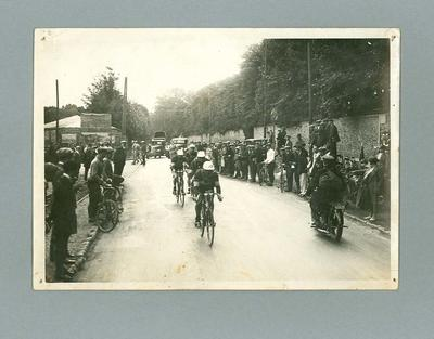 Photograph of cyclists during first stage of the 1928 Tour de France