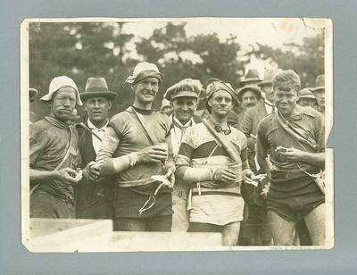 Black and white photograph Hubert Opperman and Australian cycle team c.1920s