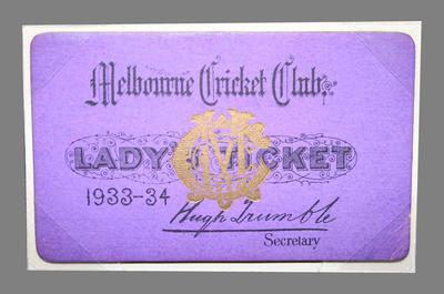 Melbourne Cricket Club Lady's Ticket, season 1933/34
