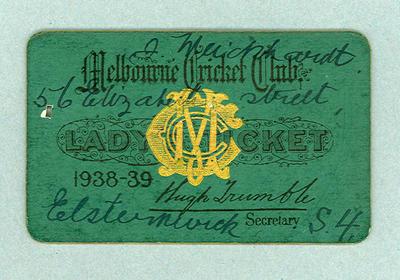 Melbourne Cricket Club Lady's Ticket, season 1938/39