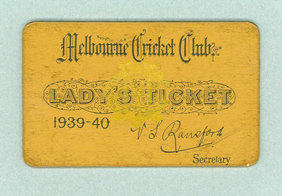 Melbourne Cricket Club Lady's Ticket, season 1939/40