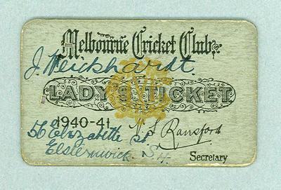 Melbourne Cricket Club Lady's Ticket, season 1940/41