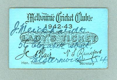 Melbourne Cricket Club Lady's Reserve ticket No.1640, Season 1942-43 - J. Weickhardt