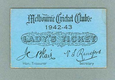 Melbourne Cricket Club Lady's Ticket, season 1942/43