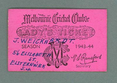 Melbourne Cricket Club Lady's Ticket, season 1943/44
