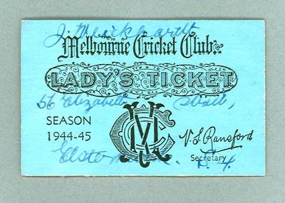 Melbourne Cricket Club Lady's Reserve ticket No.2469, Season 1944-45 - J. Weickhardt