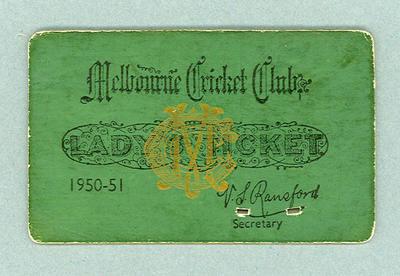 Melbourne Cricket Club Lady's Ticket, season 1950/51