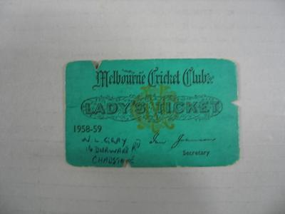 Melbourne Cricket Club Lady's Ticket, season 1958/59