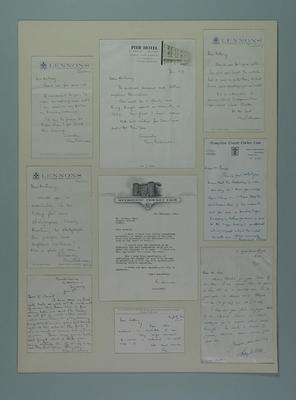 Letter from Ray H Robinson to A Baer, Sunday, Lennons hotel re. Mr. Slater; Documents and books; Artwork; M6034