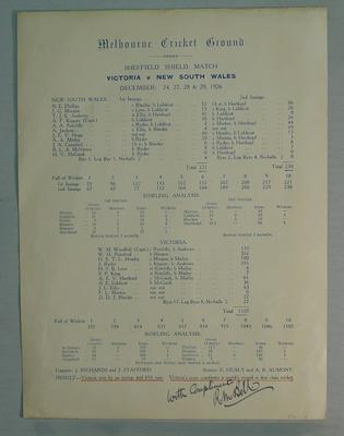 Scorecard, Sheffield Shield Match - Victoria v New South Wales, December 1926, signed by R.M. Bell