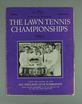 Magazine - 75th Anniversary Meeting, Lawn Tennis Championships 1961