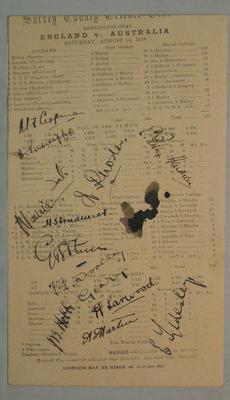 Surrey CCC scorecard - England v Australia, 14 August 1926, autographed; Documents and books; M6046