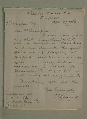 Letter dated 29 April 1936 from S. F. Barnes to F. Crompton; Documents and books; M6053