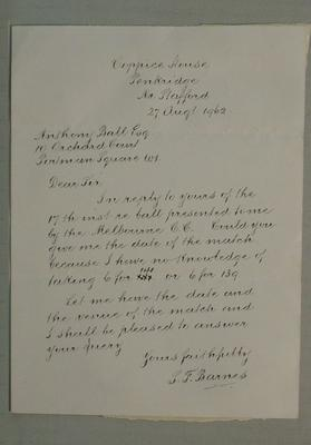 Letter dated 27 August 1962 from S. F. Barnes to Anthony Ball [Baer]; Documents and books; M6054