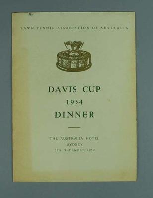 Menu, Davis Cup Dinner 1954; Documents and books; 1988.1902