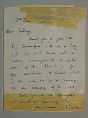 Letter dated 2 June c. 1965 from Ted Dexter to Anthony Baer; Documents and books; M6058