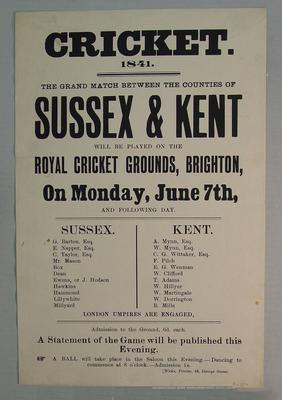 Poster, Sussex v Kent cricket match - 7 June 1841 at Brighton; Documents and books; M6059