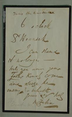 Letter written by Felix the Cricketer - Nicholas Felix - c.1850