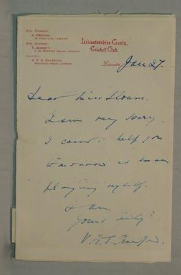 Letter written by V.F.S. Crawford, Secretary Leicestershire CCC 27 January c.1905; Documents and books; M6066