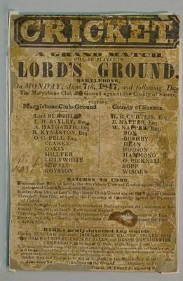 Grand Cricket Match, Lord's Ground, Marylebone Club v Sussex, 7 June 1847