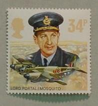 34p 1986 postage stamp of Lord Portal in RAF uniform