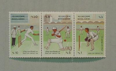 Set of 3 postage stamps - Asia Cup Cricket 1988 - Bangladesh