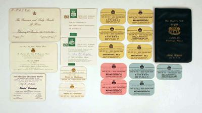 Various ticket and invitations associated with 1961 Davis Cup