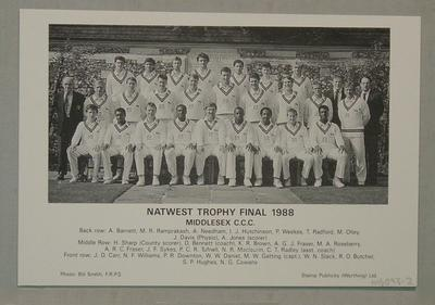 card - Photographs of Worcestershire & Middlesex teams - Natwest Trophy Final 1988; Photography; M6093.2