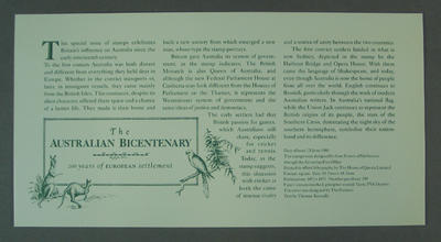 Card with explanation of The Australian Bicentenary stamp issue 1988