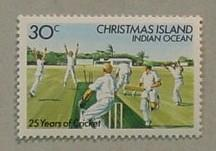 Postage stamp value 30c - 25 years of Cricket Christmas Island - issued 23/7/84