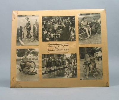 Six black and white photographs of cyclist Valda Unthank; Photography; Artwork; 1987.1729.1