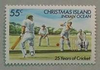 Postage stamp value 55c - 25 years of Cricket Christmas Island - issued 23/7/84