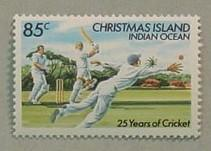 Postage stamp value 85c - 25 years of Cricket Christmas Island - issued 23/7/84