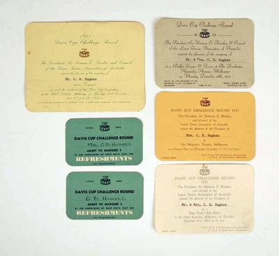 Various ticket and invitations, associated with 1953 Davis Cup