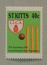 St. Kitts postage stamp - 75th Anniversary Leeward Islands Cricket Association