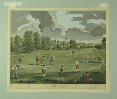 """""""Cricket"""" [cricket match in Mary-le-Bone Fields] engraving by Charles Grignion"""