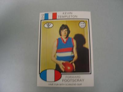 1975 Scanlens VFL Football Kevin Templeton trade card