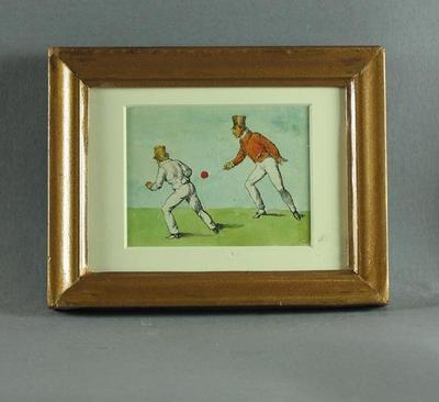 Watercolour, depicts two cricketers tossing a red cricket ball - circa 1820s