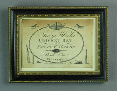 Business card for George Wheeler - Cricket Bat & Pattern Maker, circa 1790