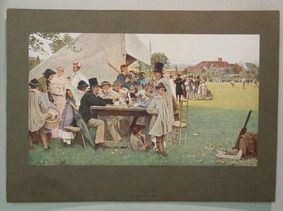 """Print, """"A Country Cricket Match Sussex"""" by John R Reid"""