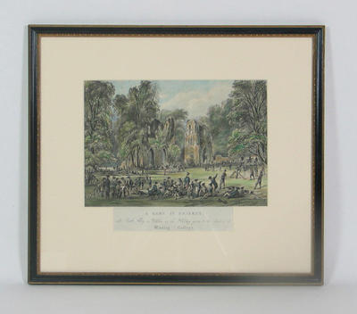 """""""A Game of Cricket at Roche Abbey in Yorkshire, on the Holiday given to the Students of Wesley College"""""""