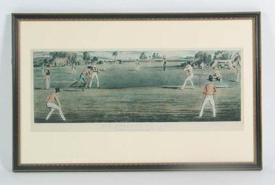 """""""The Cricket Match"""" , print published by Dean & Munday September 1834"""