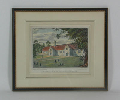 """Lithograph, """"Front View of Blundell's School"""" - artist Mrs Boulton, printer W Hackett"""
